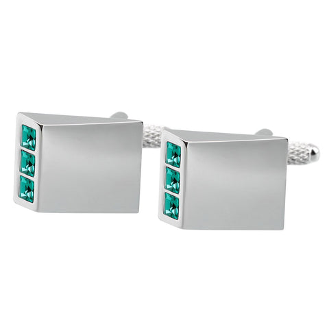 Green Crystal Wedge Cufflinks
