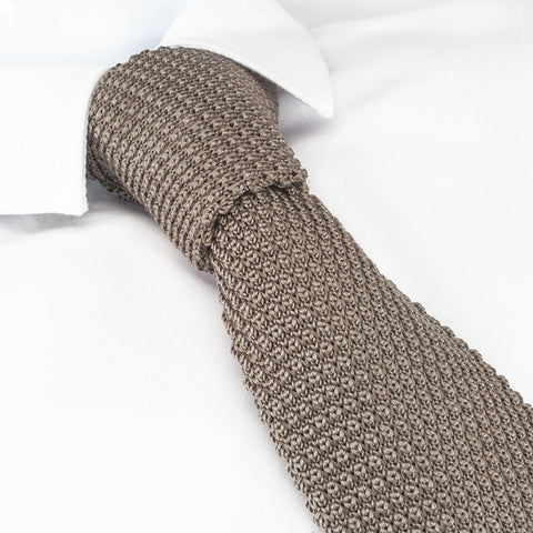Stone Knitted Square Cut Silk Tie