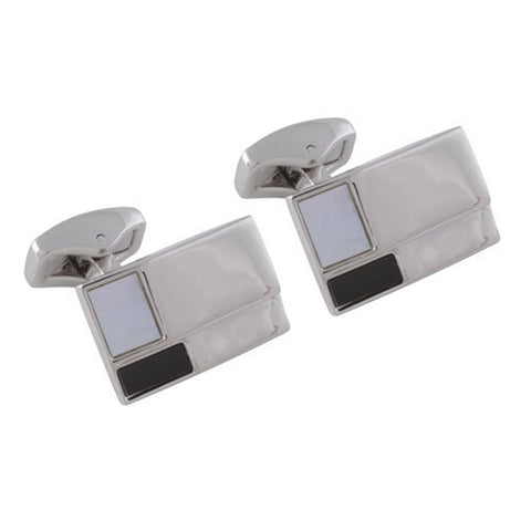 Rhodium Ridged Onyx and Mother of Pearl Stone Cufflinks