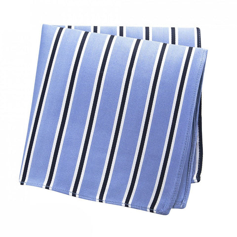 Light Blue with White & Navy Stripes Silk Handkerchief