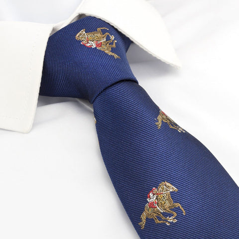 Luxury Navy Horse Racing Silk Tie
