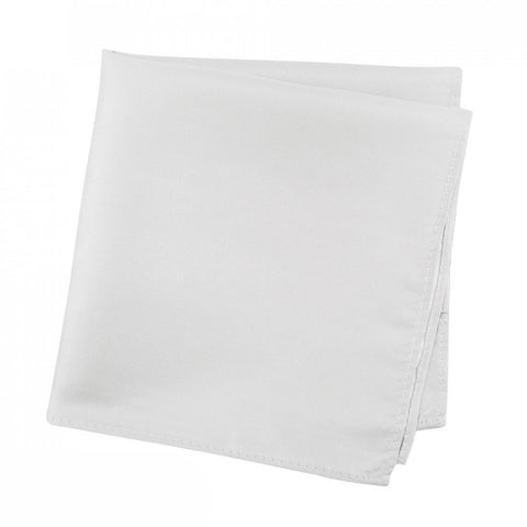 Plain Silver Silk Handkerchief