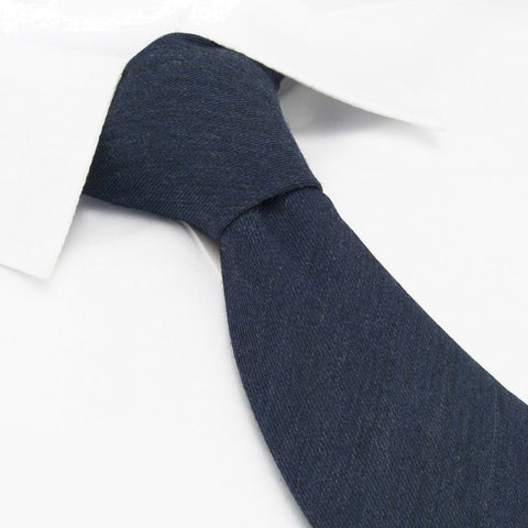 Plain Navy Wool Mix Tie