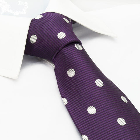 Purple Silk Tie With White Polka Dots