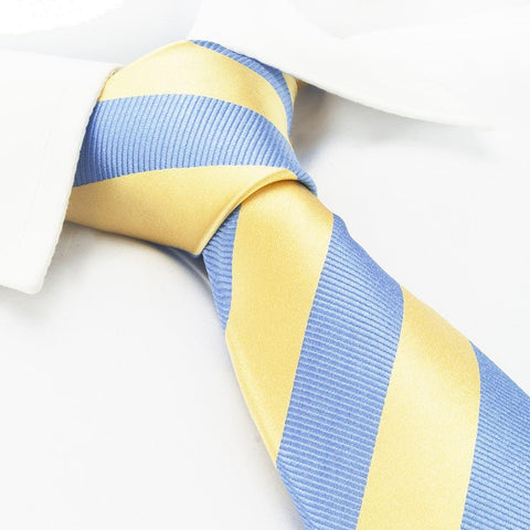 Yellow & Blue Woven Striped Silk Tie