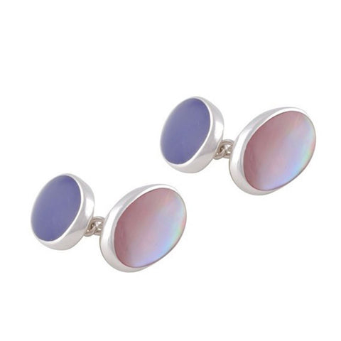 Sterling Silver Lapis and Pink Shell Cufflinks