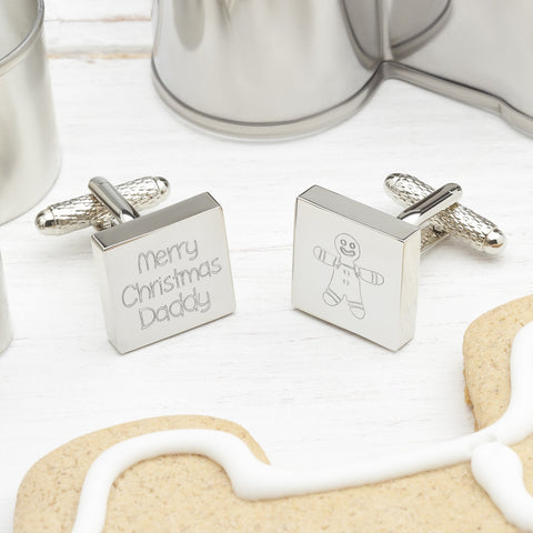 Merry Christmas Daddy Engraved Square Cufflinks