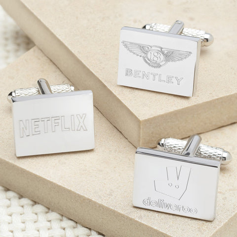 Traditional Engraved Logo Silver Rectangle Cufflinks