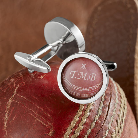 Personalised Cricket Ball Cufflinks
