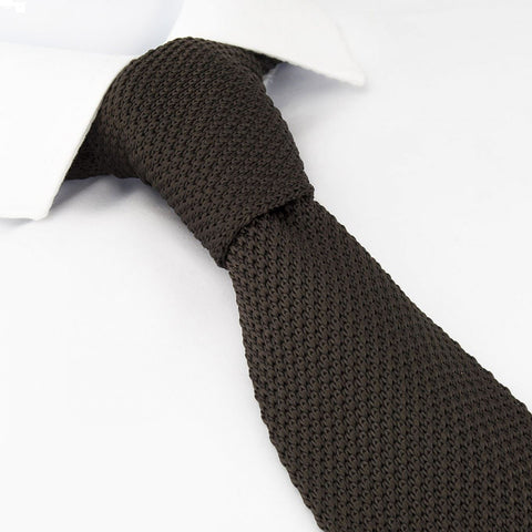 Brown Knitted Square Cut Tie