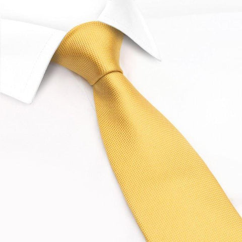 Gold Silk Plain Classic Textured Tie