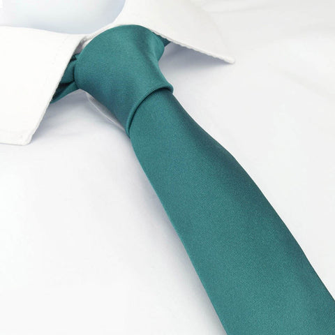 Plain Teal Slim Silk Tie