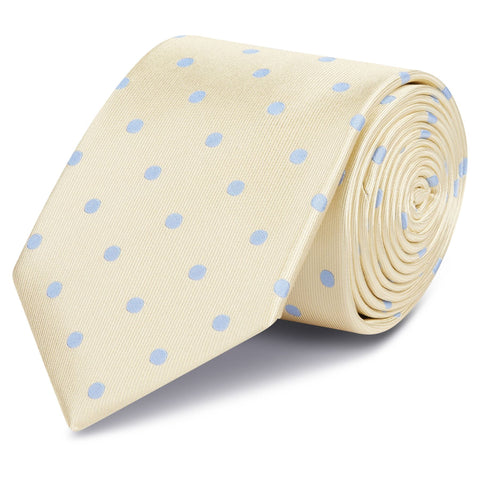 Yellow Silk Tie With Blue Polka Dots