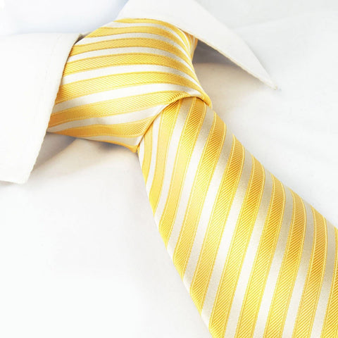 Double Yellow Striped Silk Tie