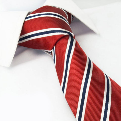 Red with Navy and White Stripes Silk Tie