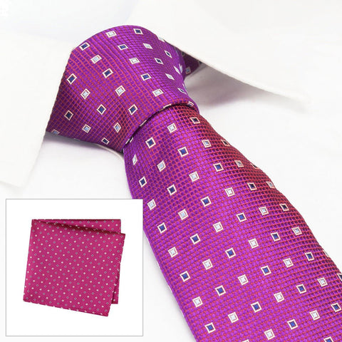 Magenta Square Patterned Silk Tie & Handkerchief Set