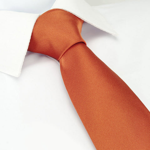 Plain Burnt Orange Silk Tie