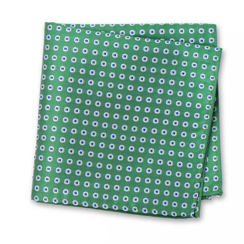 Green & Blue Classic Oxford Spot Silk Handkerchief