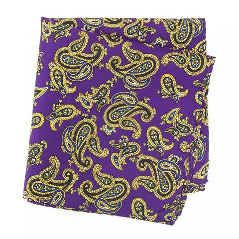 Purple Large Paisley Silk Handkerchief