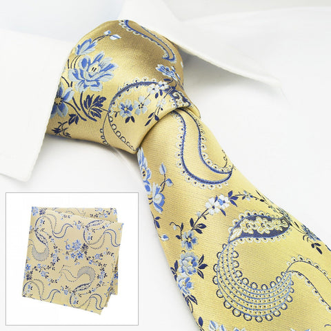Gold & Blue Luxury Floral Silk Tie & Handkerchief Set