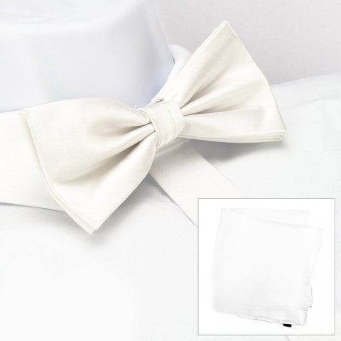 Plain White Silk Bow Tie & Handkerchief Set
