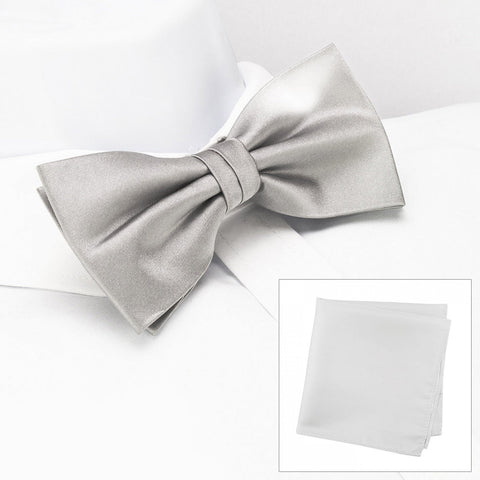 Plain Silver Silk Bow Tie & Handkerchief Set