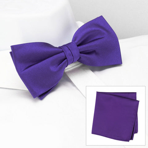 Plain Purple Silk Bow Tie & Handkerchief Set