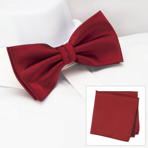 Plain Red Silk Bow Tie & Handkerchief Set