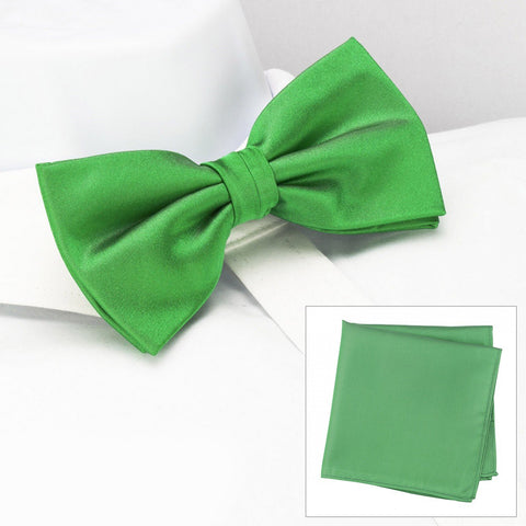 Plain Green Silk Bow Tie & Handkerchief Set