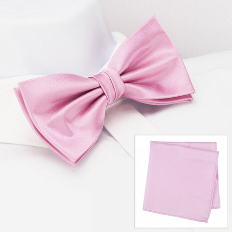 Plain Pink Silk Bow Tie & Handkerchief Set