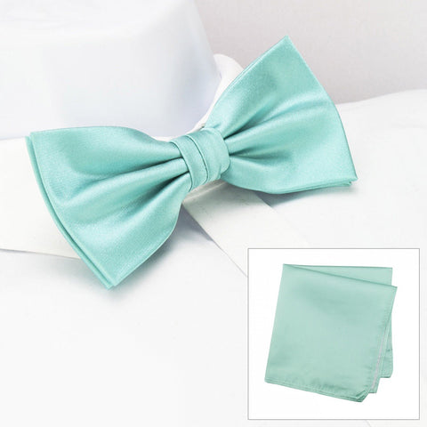 Plain Cyan Silk Bow Tie & Handkerchief Set