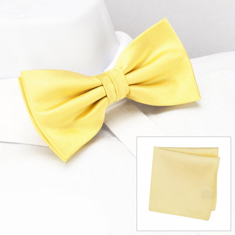 Plain Lemon Yellow Silk Bow Tie & Handkerchief Set