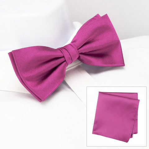 Plain Fuchsia Silk Bow Tie & Handkerchief Set