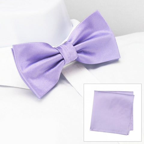 Plain Lilac Silk Bow Tie & Handkerchief Set