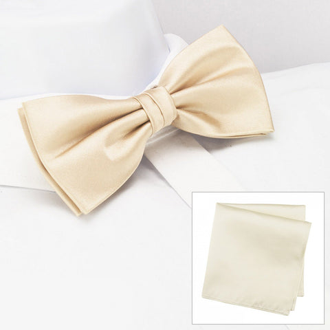 Plain Ivory Silk Bow Tie & Handkerchief Set