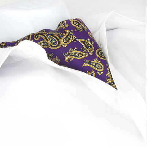 Purple Large Paisley Twill Silk Self Tie Cravat
