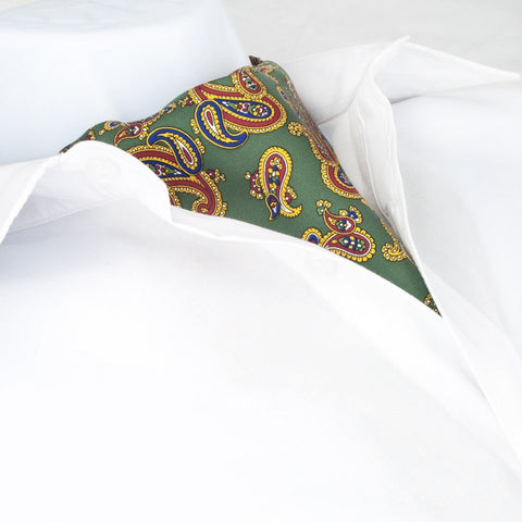 Moss Green Large Paisley Twill Silk Self Tie Cravat