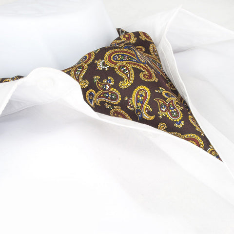 Wine Large Paisley Twill Silk Self Tie Cravat