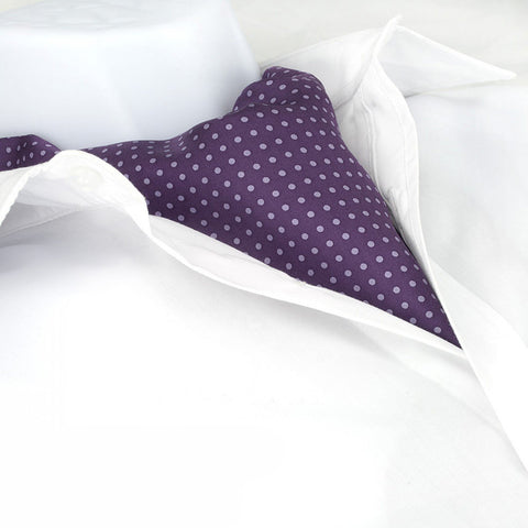 Purple With Lilac Polka Dot Twill Silk Self Tie Cravat