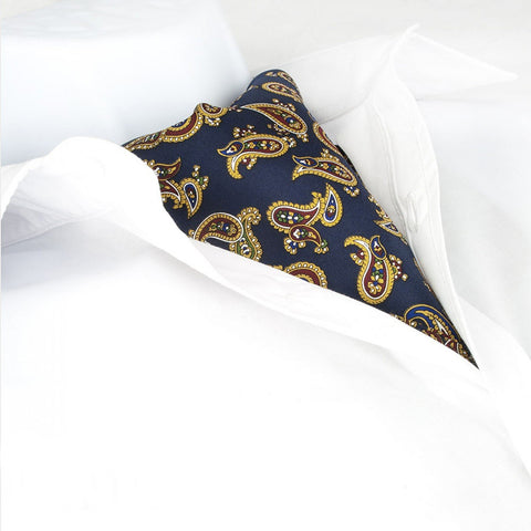 Navy Large Paisley Twill Silk Self Tie Cravat