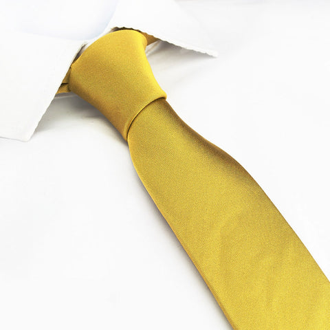 Plain Gold Slim Silk Tie