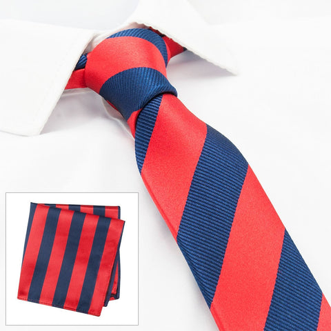 Red & Navy Woven Striped Slim Silk Tie & Handkerchief Set