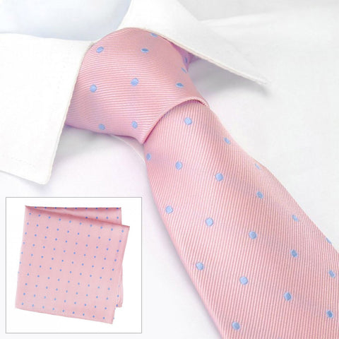 Pink & Blue Polka Dot Silk Tie & Handkerchief Set