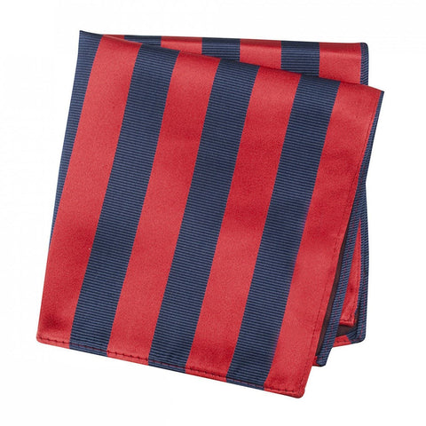 Red & Navy Woven Striped Silk Handkerchief
