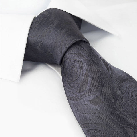 Grey Rose Luxury Woven Silk Tie