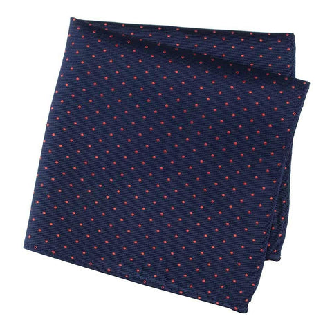 Navy Silk Handkerchief With Tiny Red Spots