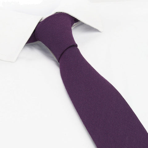 Plain Purple Wool Mix Slim Tie