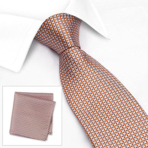 Orange Geometric Spot Woven Silk Tie & Handkerchief Set