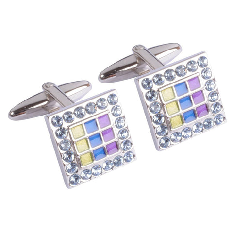 Enamel Painted with Swarovski Crystals Cufflinks
