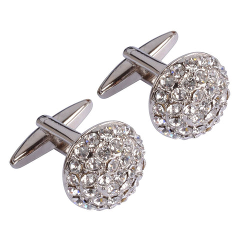 Multi White Crystal Circles Cufflinks